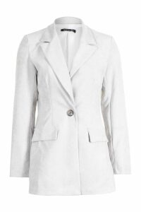 Womens Cord Single Breasted Blazer - white - 14, White