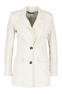 Womens Linen Stripe Blazer - beige - 14, Beige