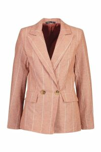 Womens Pin Stripe Double Breasted Blazer - orange - 14, Orange