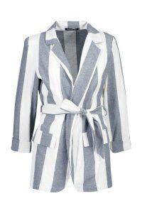 Womens Wide Stripe Linen Belted Blazer - blue - 12, Blue