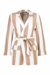 Womens Wide Stripe Linen Belted Blazer - beige - 14, Beige