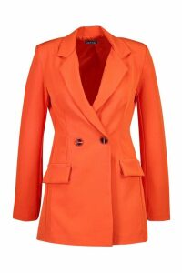 Womens Tailored Double Breasted Blazer - orange - 12, Orange
