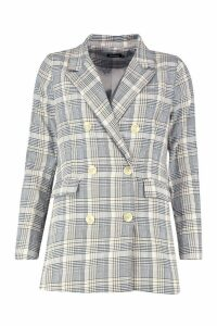 Womens Check Double Breasted Blazer - beige - M, Beige