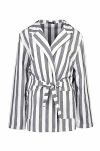 Womens Stripe Linen Belted Blazer - blue - 12, Blue