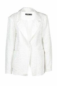Womens Pearlised Woven Tailored Blazer - white - 20, White