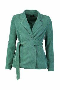 Womens Cord Tailored Contrast Stitch Blazer - green - 16, Green