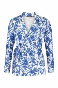 Womens Tie Waist Tailored Porcelain Print Blazer - blue - 8, Blue
