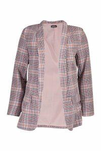 Womens Pink Check Blazer - 12, Pink