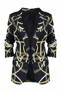 Womens Chain Print Ruched Sleeve Blazer - black - 10, Black