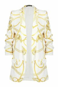 Womens Chain Print Ruched Sleeve Blazer - white - 14, White