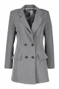 Womens Tailored Pinstripe Blazer - grey - 10, Grey