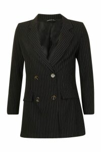 Womens Tailored Pinstripe Blazer - black - 12, Black