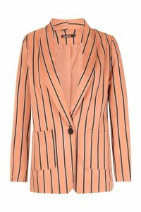 Womens Stripe Tailored Blazer - pink - L, Pink