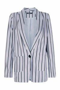 Womens Stripe Tailored Blazer - grey - M, Grey
