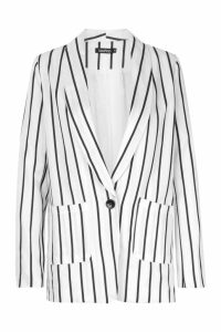 Womens Stripe Tailored Blazer - white - L, White