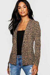 Womens Tall Leopard Print Blazer - multi - 16, Multi