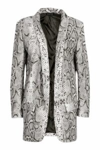 Womens Tall Snake Print Tailored Blazer - black - 16, Black
