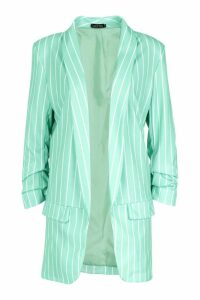 Womens Tall Stripe Ruched Sleeve Woven Blazer - green - 10, Green