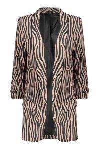 Womens Tall Tonal Zebra Ruched Sleeve Woven Blazer - beige - 8, Beige