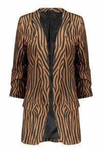 Womens Tall Tonal Zebra Ruched Sleeve Woven Blazer - orange - 8, Orange