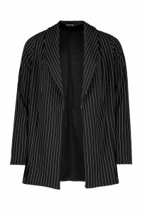 Womens Pinstripe Edge To Edge Blazer - black - 14, Black