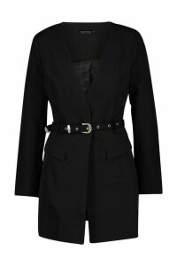 Womens Diamante Buckle Belted Collarless Blazer - black - 12, Black