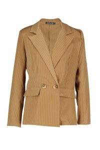 Womens Relaxed Pinstripe Double Breasted Blazer - brown - 14, Brown
