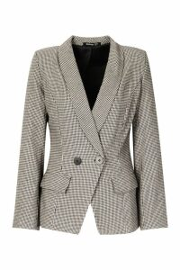 Womens Double Breasted Tonal Dogtooth Blazer - black - 14, Black