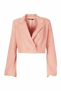 Womens Volume Sleeve Double Breasted Cropped Blazer - pink - 12, Pink