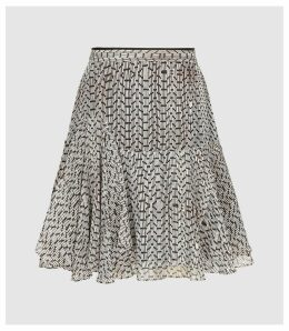 Reiss Margarita - Printed Mini Skirt in Neutral, Womens, Size 14