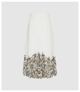Reiss Isidora Print - Pleated Midi Skirt in White, Womens, Size 14