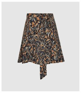 Reiss Yvette - Feather Printed Mini Skirt in Navy, Womens, Size 14