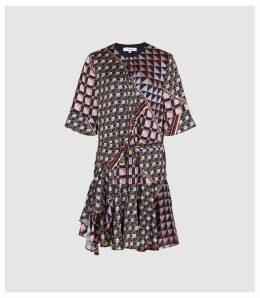 Reiss Orla - Geo Printed Mini Dress in Multi, Womens, Size 16