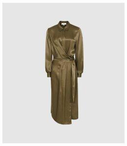 Reiss Katie - Midi Shirt Dress in Green, Womens, Size 16