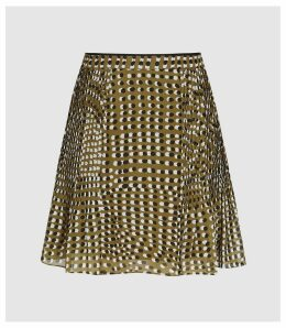 Reiss Ellie - Spot Print Flippy Skirt in Khaki, Womens, Size 14