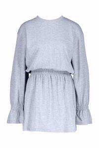 Womens Cotton Shirred Waist T-Shirt Dress - grey - 12, Grey