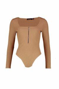 Womens Zip Front Jumbo Rib Square Neck Bodysuit - beige - 14, Beige