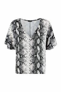 Womens Woven Snake Print V Front T-Shirt - grey - 10, Grey