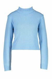 Womens Roll Neck Crop Jumper - blue - M, Blue