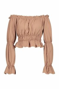 Womens Woven Shirred Off The Shoulder Top - beige - 8, Beige