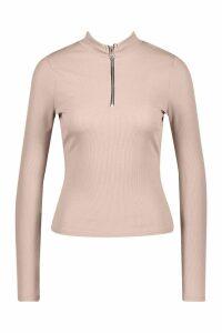 Womens Half Zip Rib Long Sleeve Top - beige - 14, Beige