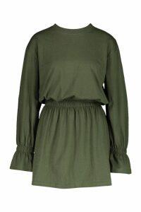 Womens Cotton Shirred Waist T-Shirt Dress - green - 16, Green