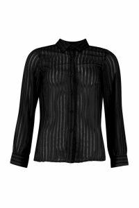 Womens Woven Burnt Out Stripe Shirt - black - 14, Black