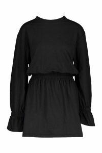 Womens Cotton Shirred Waist T-Shirt Dress - black - 8, Black