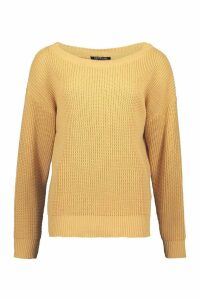 Womens Slash Neck Jumper - beige - S, Beige