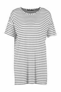 Womens Petite Stripe T-Shirt Dress - white - 8, White