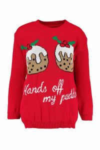 Womens Christmas Pudding Jumper - red - M/L, Red