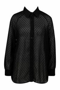 Womens Woven Dobby Spot Shirt - black - 12, Black