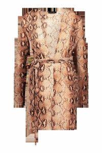 Womens Snake Print Belted Kimono - beige - 6, Beige