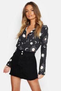 Womens Woven Star + Moon Print Shirt - black - 10, Black